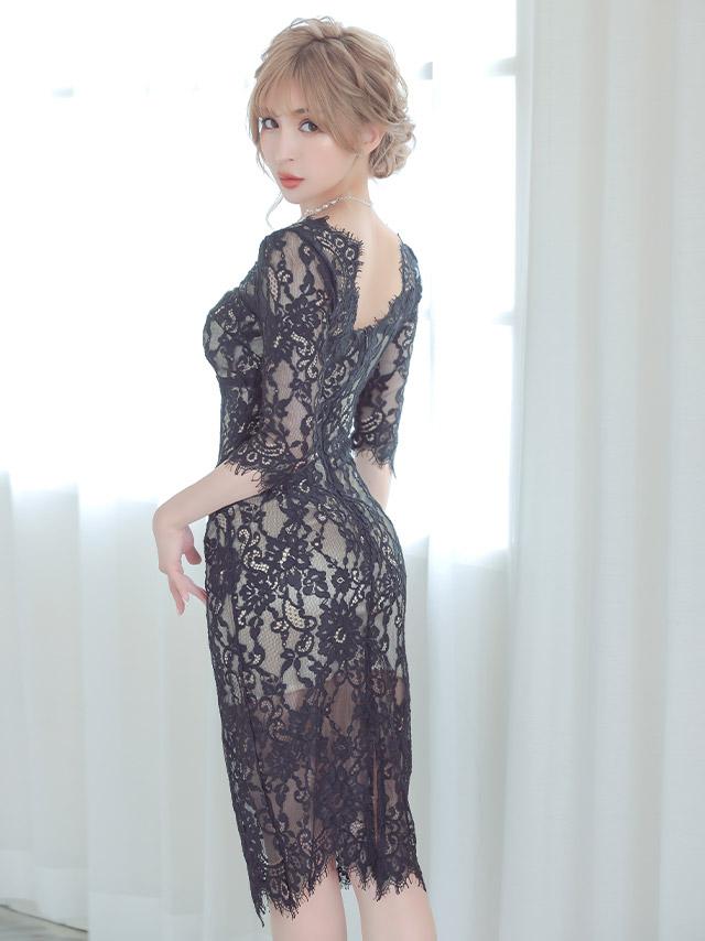 韓国ドレス オールフラワーレースエレガントミディアムスリットドレス