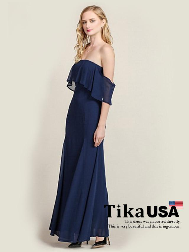 Tika ティカ (S/M/L) オフショルダーシフォンロングドレス (ネイビー)