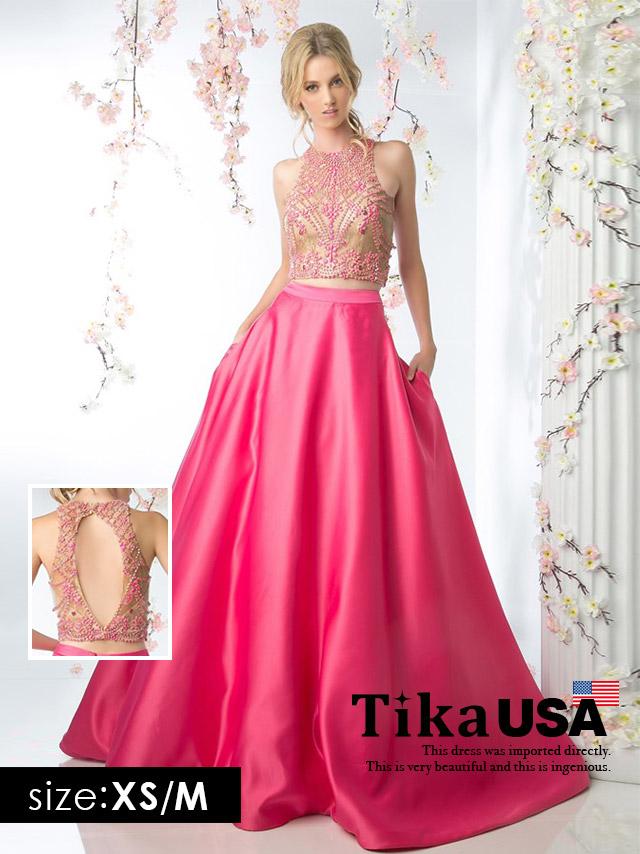 Tika ティカ (XS/M) タイトトップス×フレアスカートセットアップドレス (ピンク)