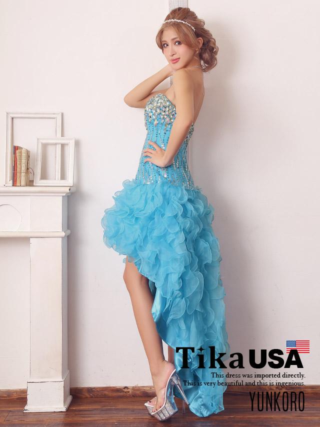 ゆんころ ドレス着用 Tika ティカ (XS/M) 胸元スパンコール付き前ミニフリルロングドレス (ブルー)