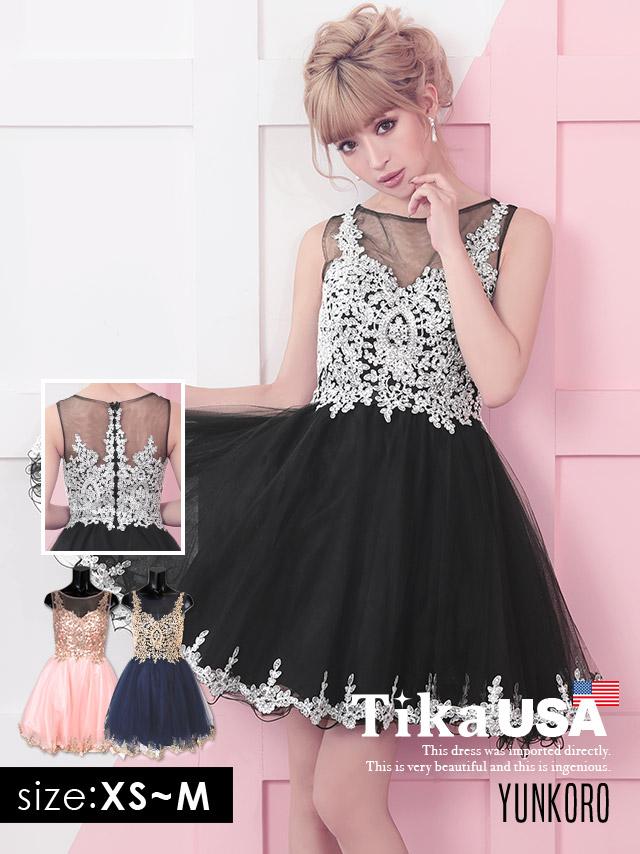 ゴージャス刺繍×シースルーフレアミニドレス (ピンク/ネイビー/ブラック) (XSサイズ/Sサイズ/Mサイズ)