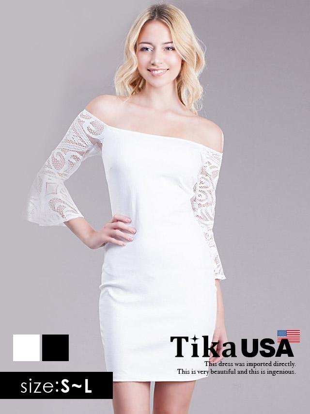Tika ティカ (S/M/L) レース袖切替オフショルダータイトミニドレス (ブラック/ホワイト)