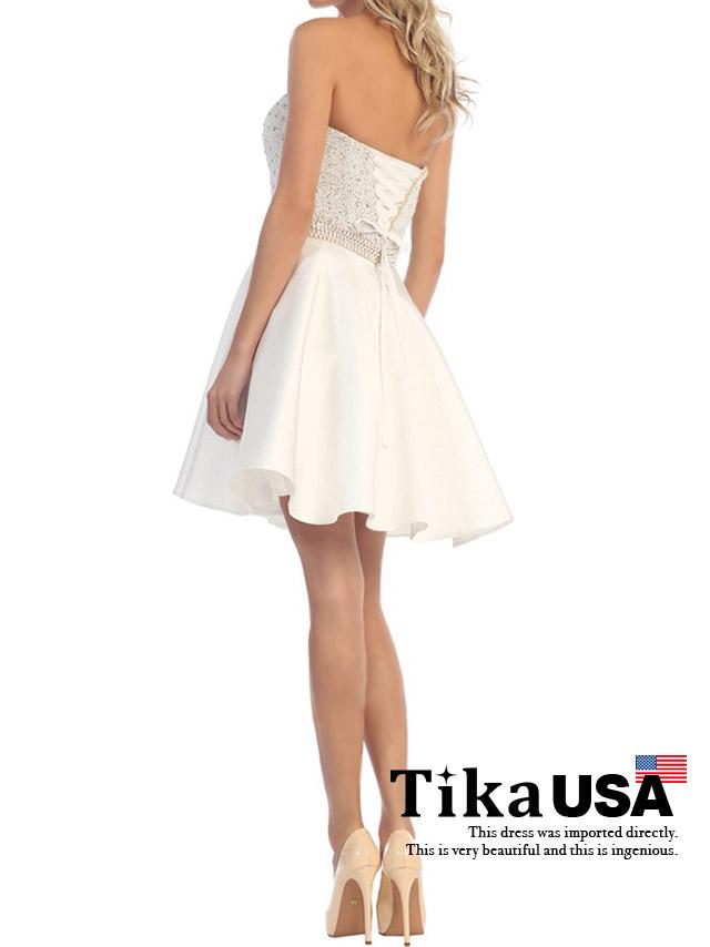 Tika ティカ (XS/S) 胸元シースルービジュー切替フレアミニドレス (ホワイト)