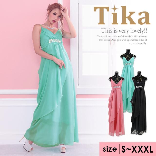 ウエストビジューラインロングドレス (ピンク/ミント/ブラック) (Sサイズ/Mサイズ/Lサイズ/XLサイズ/XXLサイズ/XXXLサイズ)