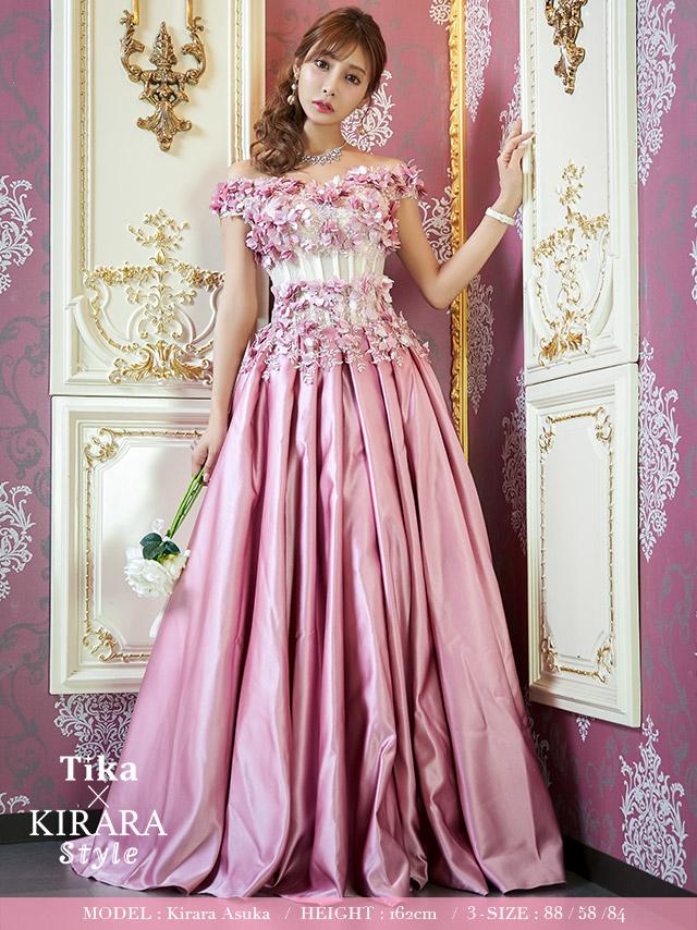 フラワーモチーフコルセットデザインボリュームスカートロングドレス (ピンク) (XSサイズ/Sサイズ/Mサイズ/Lサイズ/XLサイズ/XXLサイズ/XXXLサイズ)