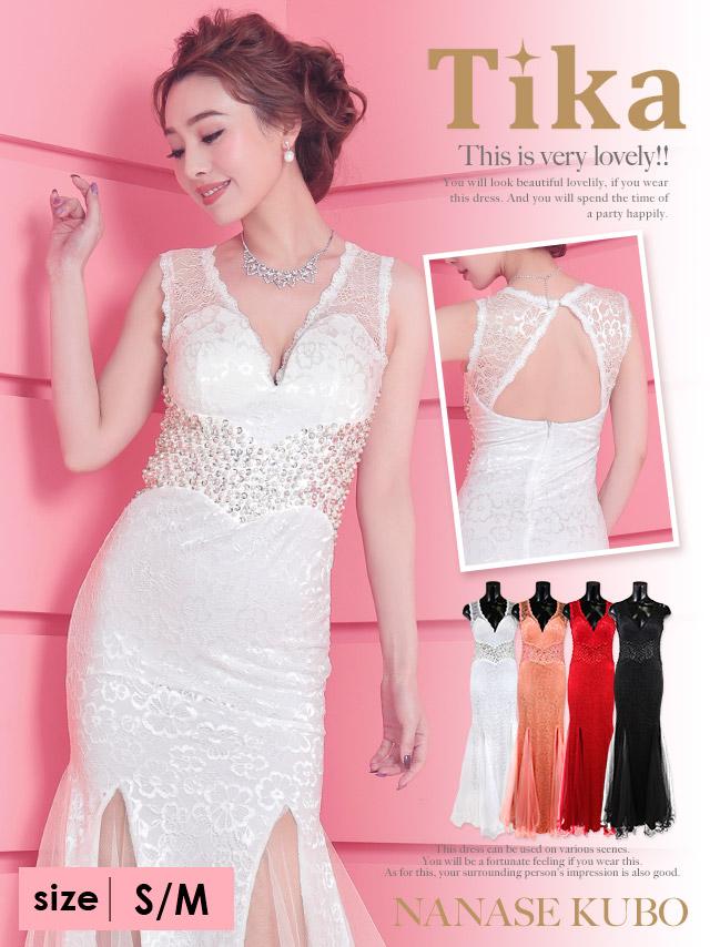 背中魅せマーメードシースルーロングドレス (ホワイト/ピンク/レッド/ブラック) (Sサイズ/Mサイズ)