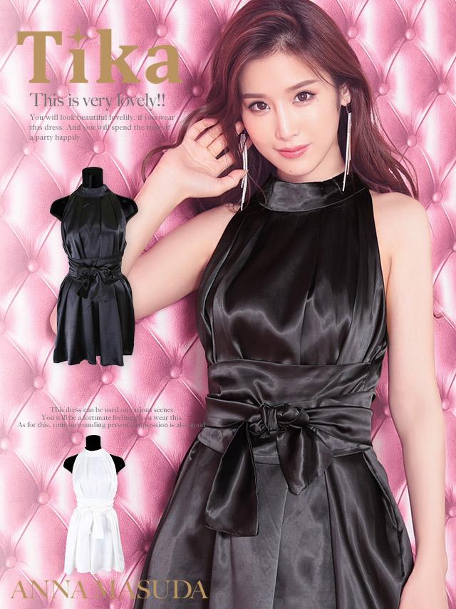 艶めきサテンウエストリボンホルターネックミニドレス (ホワイト/ブラック) (Mサイズ)