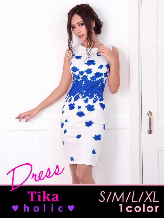 フラワープリントタイトミニドレス (ブルー) (Sサイズ/Mサイズ/Lサイズ/XLサイズ)