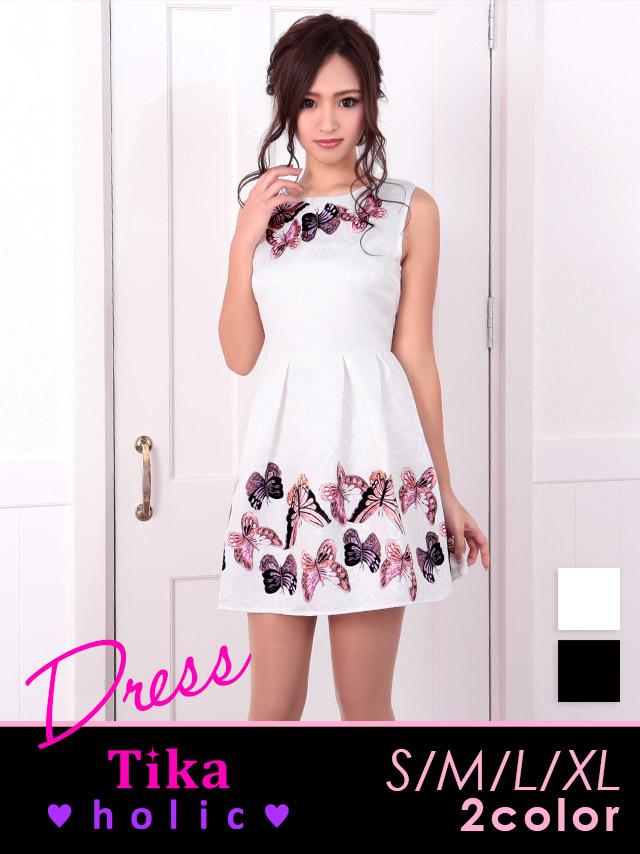 バタフライプリントフレアミニドレス (ホワイト/ブラック) (Sサイズ/Mサイズ/Lサイズ/XLサイズ)