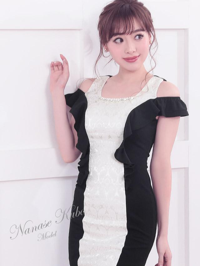 バイカラー切り替えオフショルタイトミニドレス (ブラック×ホワイト/ワインレッド×ホワイト) (Sサイズ/Mサイズ/Lサイズ/XLサイズ)