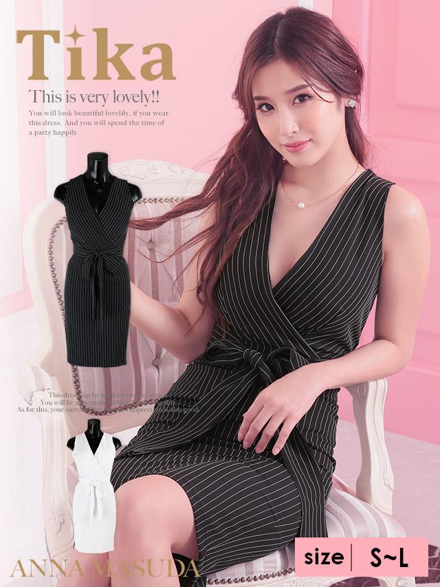 モノトーンストライプスレンダーミディ丈ドレス (ホワイト/ブラック) (Sサイズ/Mサイズ/Lサイズ)