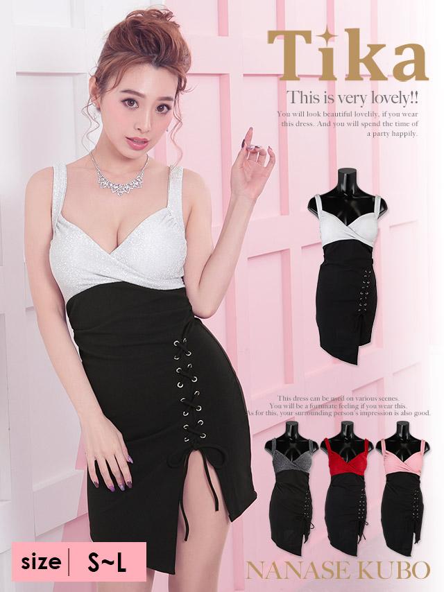 ラメカシュクールバイカラー編み上げスカートタイトミニドレス (ホワイト×ブラック/ブラック×ブラック/レッド×ブラック/ピンク×ブラック) (Sサイズ/Mサイズ/Lサイズ)