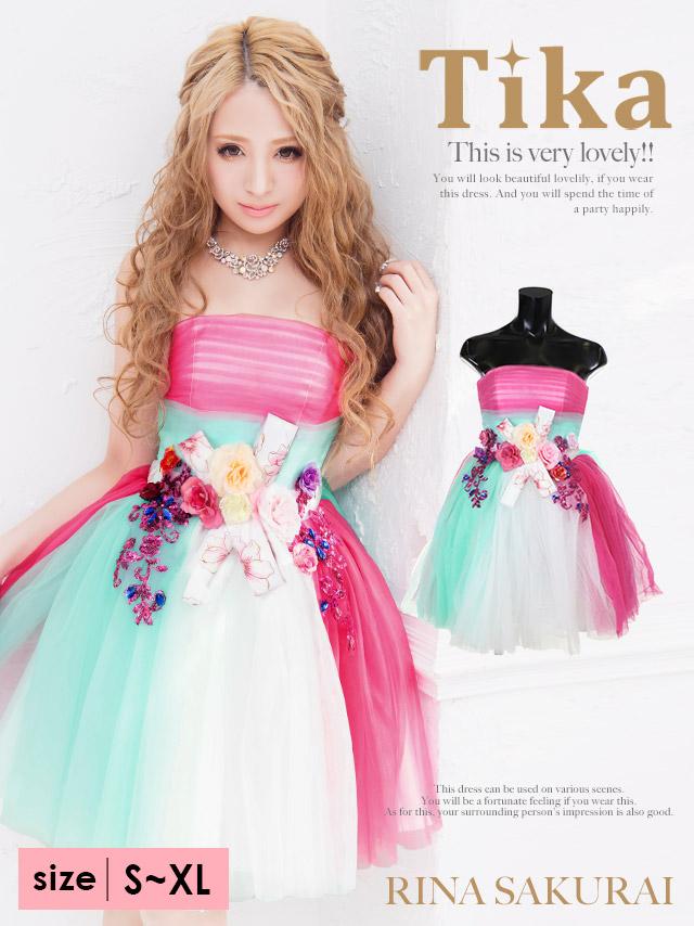 ウエストフラワーマークカラーチュールフレアミニドレス (ピンク) (Sサイズ/Mサイズ/Lサイズ/XLサイズ)