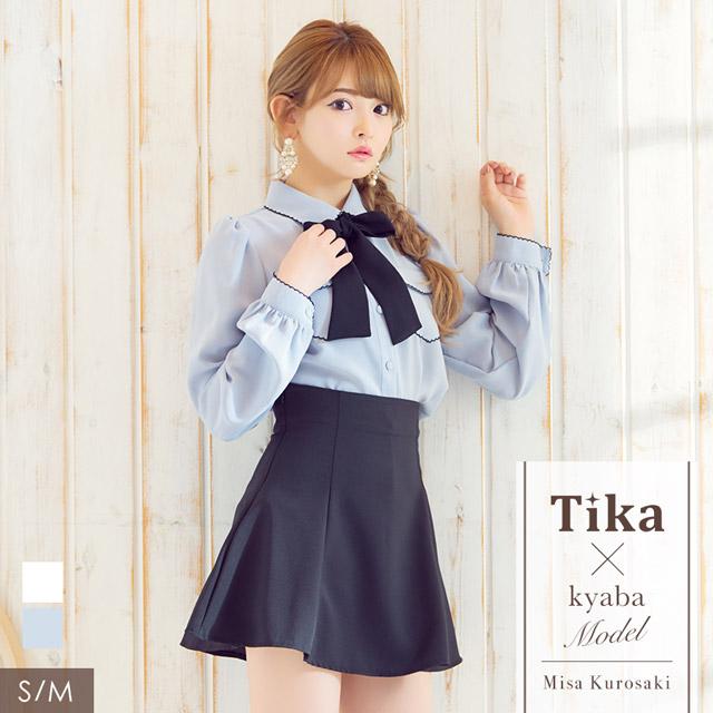 韓国ドレス パイピングネックリボンブラウスフレアミニスカートセットアップドレス