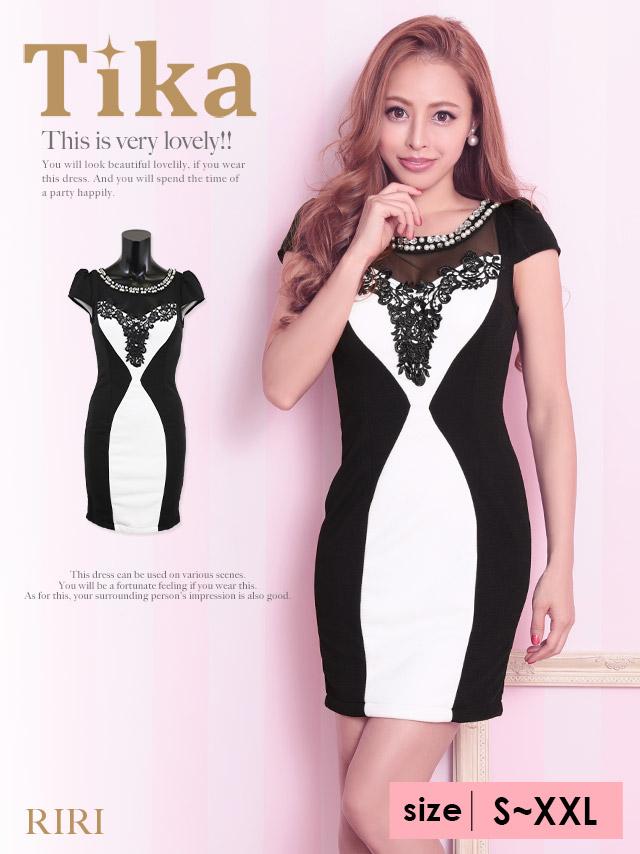 けレースバイカラータイトミニドレス(ホワイト×ブラック)(Sサイズ/Mサイズ/Lサイズ/XLサイズ/XXLサイズ)