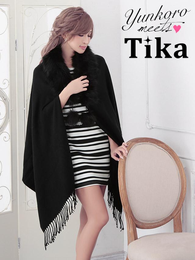 ゆんころ YURISA ストール着用 Tika ティカ フェイクファー付き大判ストール