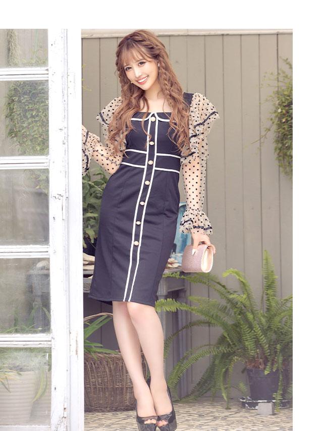 ショルダーフリルシアードット切り替えパイピングミディアムタイトドレス
