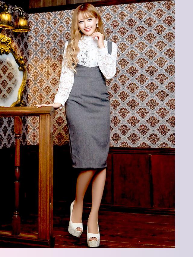 ロングスリーブレーストップス+サロペットミディアムタイトスカートセットアップドレス
